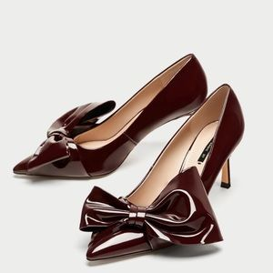 NWT Zara Faux Patent Pumps with Bow (size 37)